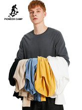 Pioneer Camp 100% Cotton Long Sleeve T-Shirt Men Causal Yellow Blue Gray White Black Khaki Men's Solid Tshirts ACT901278(China)