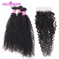 HALOQUEEN Deep Wave Bundles With Closure Non Remy Brazilian Hair Weave Bundles With Closure Human Hair 3 Bundles With Closure