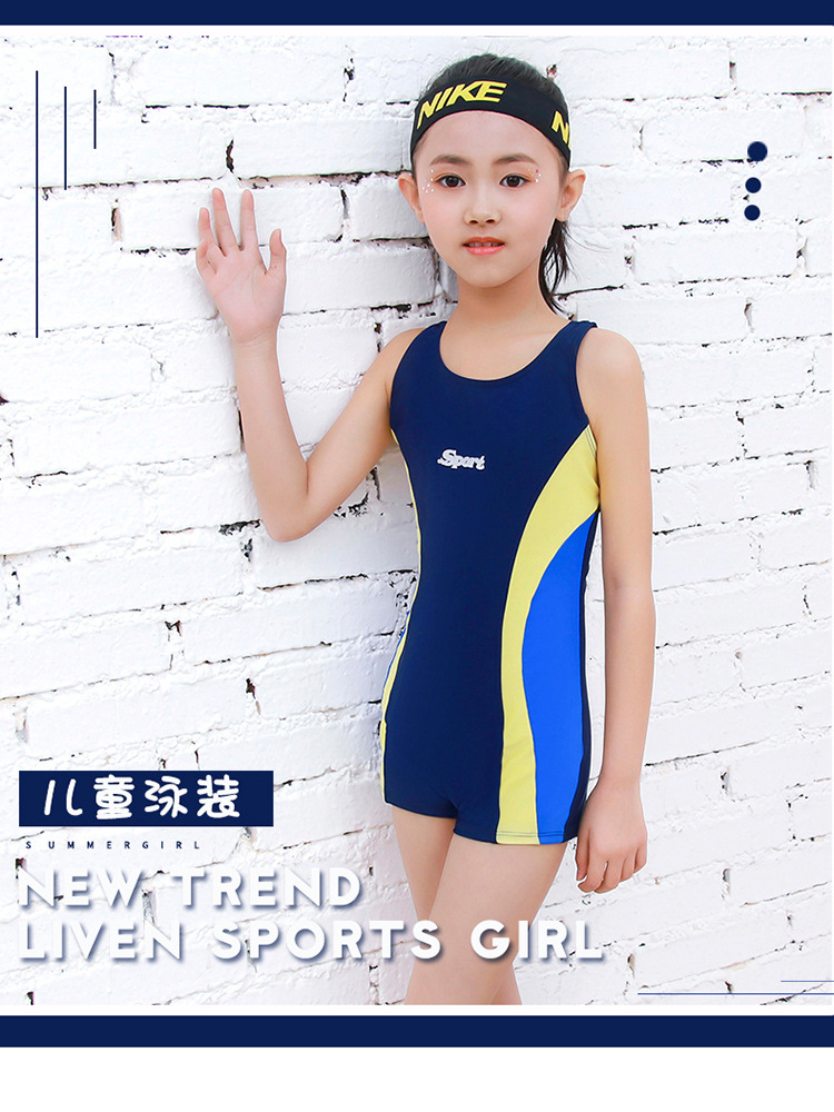 2019 New Style Hot Selling GIRL'S Swimsuit One-piece Little Big Child Boxer Ultra-stretch Quick-Dry Swimming Training CHILDREN'S