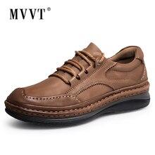 MVVT zimowe Retro męskie buty najwyższej jakości buty z prawdziwej skóry męskie zimowe botki modne platformy męskie buty