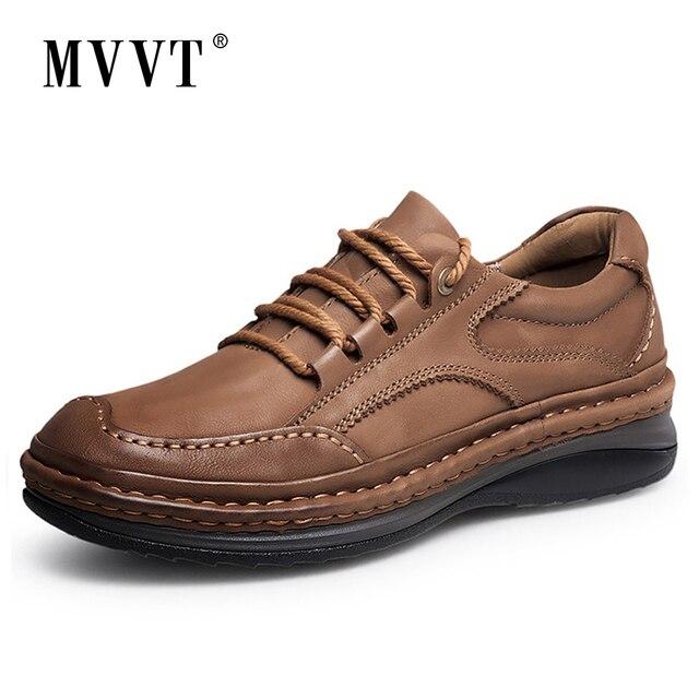 MVVT חורף רטרו גברים מגפיים למעלה איכות עור אמיתי מגפי גברים חורף קרסול מגפי אופנה פלטפורמת גברים נעליים