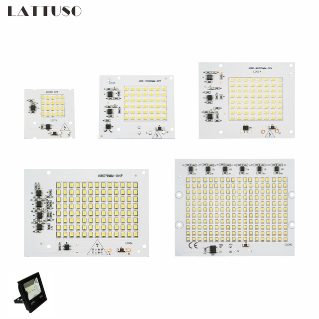 LATTUSO Led Lamp 10W 20W 30W 50W 100W Smart IC Floodlight COB Chip SMD 2835 5730 Outdoor Long Service Time DIY Lighting In 220V