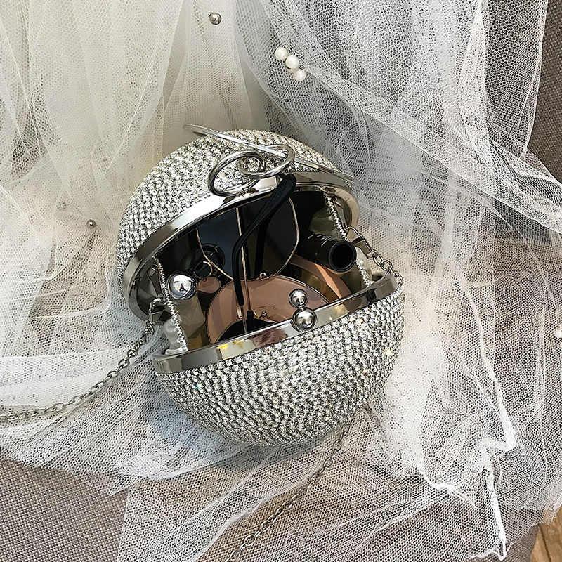 Dimond ball sac anneau en métal fourre-tout sacs pour femmes 2019 nouveau sac à main de concepteur de femmes chaîne sac à bandoulière dames sacs à main fête
