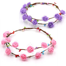 4 PCS Pink&Purple Kids DIY Handmade Garland Headdresses Girls Adjustable Head Decoration Flower Headwear Educational Crafts Toys