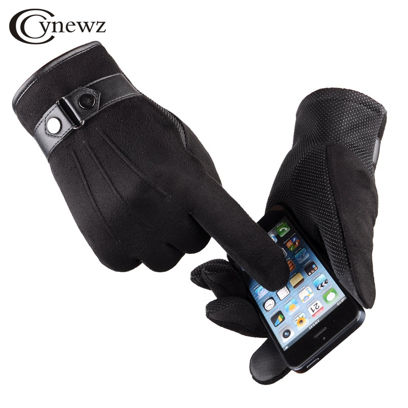 Winter Mittens Men s Gloves Suede Keep Warm Touch Screen Windproof Driving Guantes 2016 New Male