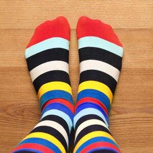 Image 3 - SANZETTI yeni sıcak renkli erkek çorap rahat penye pamuk yüksek kaliteli kaykay komik mutlu düğün 12 çift/grup elbise çorap