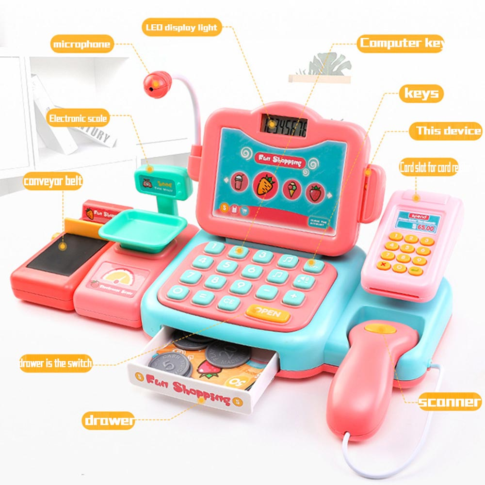 Electronic Mini Simulation Supermarket Cash Register Kit Toy Children Checkout Counter Role Play Cashier Girl Toy Gift