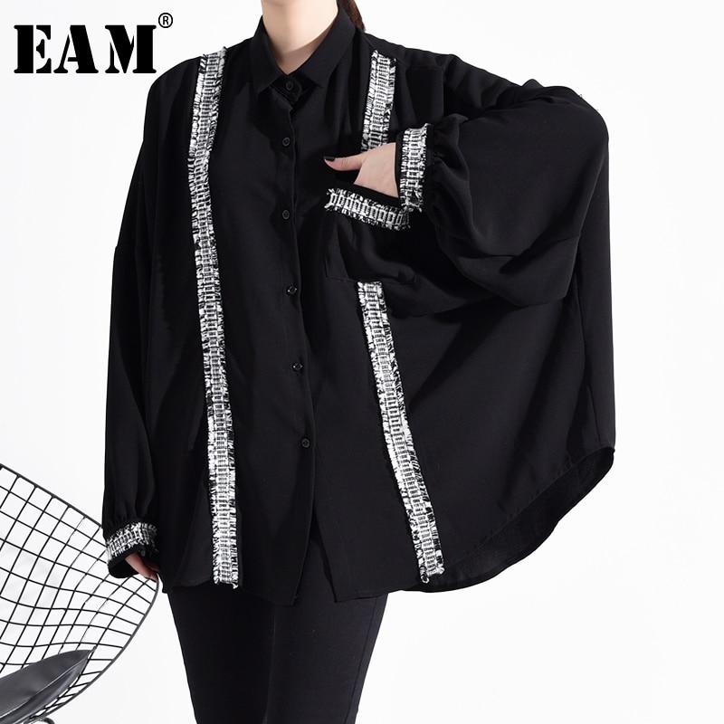 [EAM] Women Black Split Big Size Chiffon Blouse New Lapel Long Sleeve Loose Fit Shirt Fashion Tide Spring Autumn 2020 1H64001