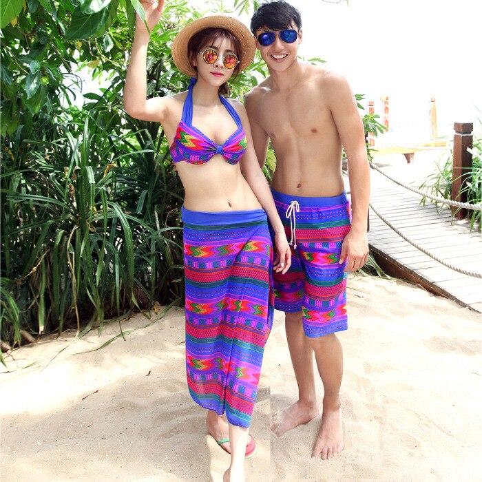 South Korea COUPLE'S Swimsuit Honeymoon Beach Set Underwire Push Up Three-piece Set Swimwear Women's MEN'S Beach Shorts Swimming