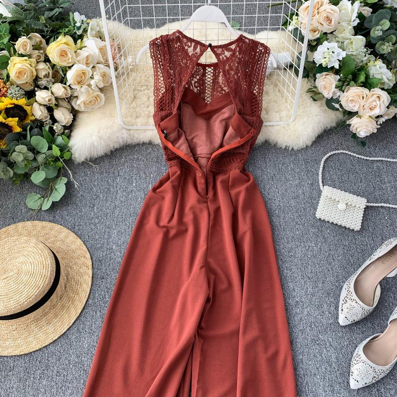 Elegant High Waist Hip Wide Leg Patchwork Lace Hollow Out Sleeveless Jumpsuit 28
