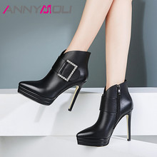 ANNYMOLI Autumn Ankle Boots Women Genuine Leather Buckle Platform Thin High Heels Short Boots Crystal Zipper Shoes Female Winter