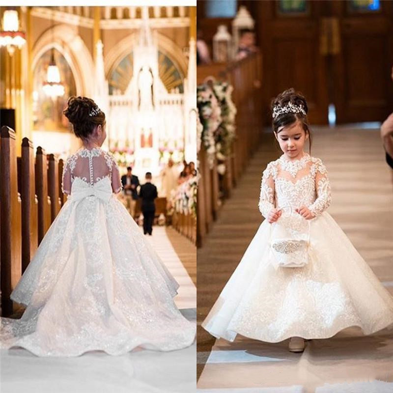 Ivory White Lace Applique Flower Girl Dress for Wedding Long Sleeves O Neck Kids First Communion Dress with Bow