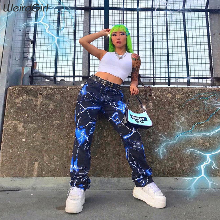 Weirdgirl Women Lightning Print Casual Pants Fashion Streetwear Cargo Pants High Waist Sweatpant Lady Long Trousers 2019 Autumn