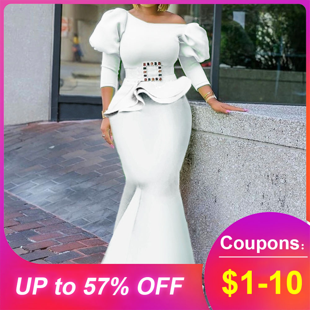 White Puff Sleeve Sexy Long Dress Party Club Dinner African Style Women Dresses Robe Fabala Off Shoulder Mermaid Trumpet Dresses