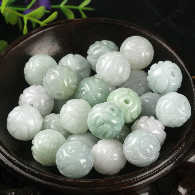 5PC Natural Jade Emerald Lotus Bead 13mm DIY Accessories Bangle Charm Jewellery Fashion  Hand-Carved  Luck Amulet
