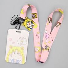 Card-Holder Lanyard Sailor-Moon Long/telescopic-Rope Visit Credit Students ID Male Girls