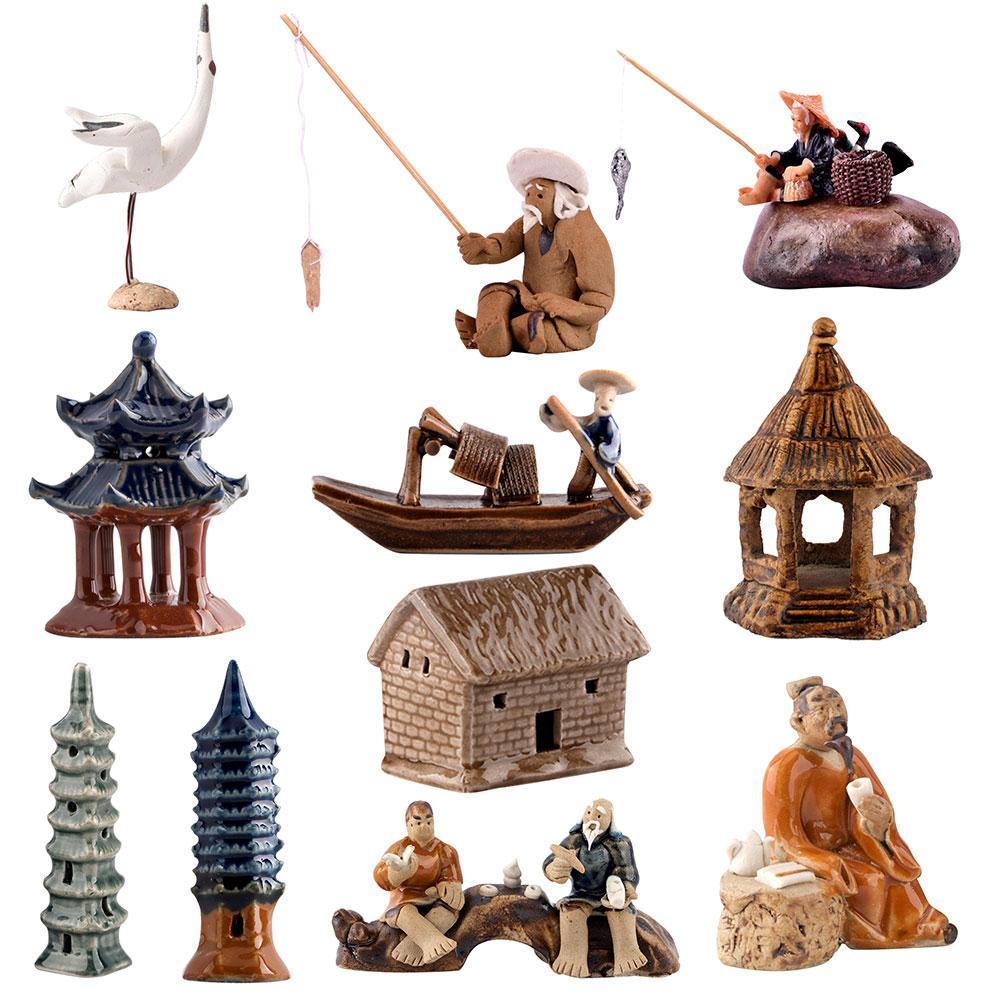 Китайский мини Керамическая бонсай Статуэтка скала Пейзаж орнамент имитация архитектурно-павильон для украшения кукольных домиков