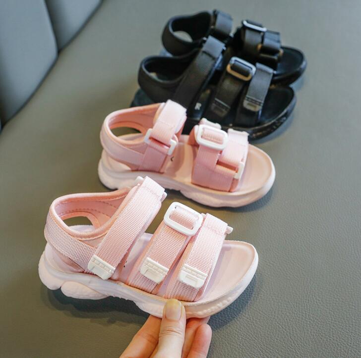 Girls Sandals 2020 New Korean Summer Boys Shoes Kids Children Girl Simple Hook Loop Rubber Sandals Baby Shoe Middle Big Child