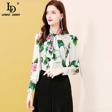 LD LINDA DELLA Summer Fashion Runway Silk Blouses Women Bow tie collar Rose Floral Print Elegant Top Ladies Casual White Shirt