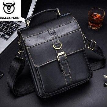 BULLCAPTAIN Men's Business Genuine Leather Handbags Crossbody Bag Cow skin Small Men Single Shoulder Crossbody Bag фото