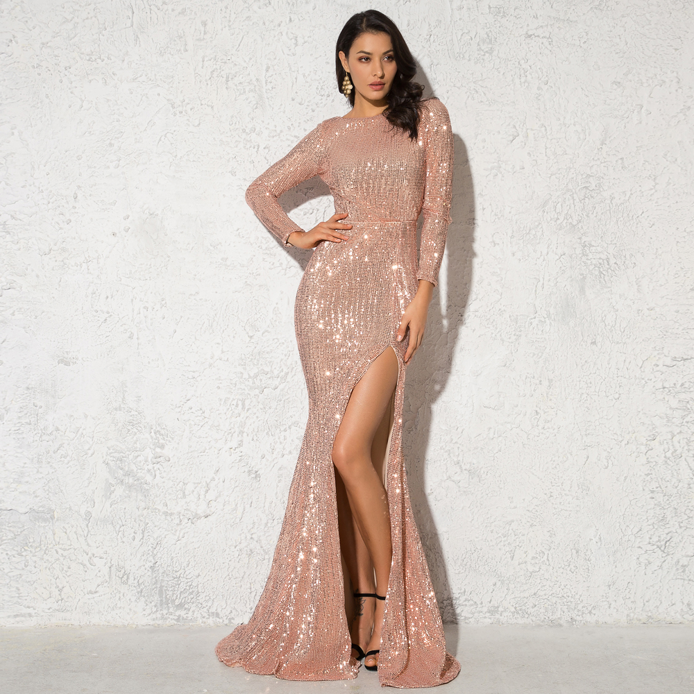 O Neck Champagne <font><b>Gold</b></font> Split Leg Maxi <font><b>Dress</b></font> Evening Party Full Sleeved Elegant Floor Length <font><b>Dress</b></font> image