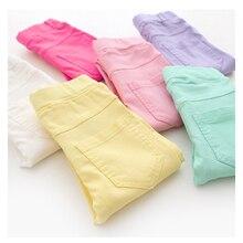 Высококачественные весенние узкие брюки для маленьких девочек-подростков; Узкие детские леггинсы ярких цветов; штаны для девочек; детские брюки