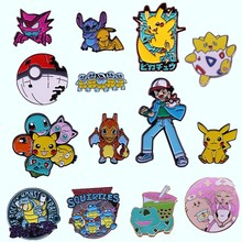 Anime Movies TV Pokemon Brooch Enamel Animal Pins Fashion Metal Pikachu Badge Lapel Pin Cartoon Jewelry Gift To Kid Fans Friends