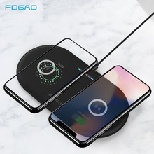 20W Dual Seat Qi Wireless Charger For iPhone X 8 XS Max Samsung S10 S9 10W Fast Charging Wireless Charging pad Desktop Charger все цены