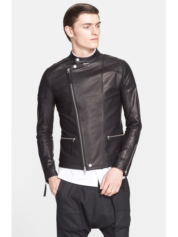 Free Shipping.Brand Soft Italy Fetal Bovine Skin Leather Jackets,men's Genuine Leather Jacket.slim Motor Biker's Coat.sales