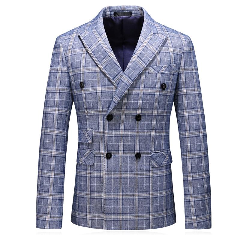 Fashion 2019 Autumn Luxury Slim Fit Casual Jacket Cotton Men Blazer Double Breasted Mens Blazer Jacket Plus Size 5xl