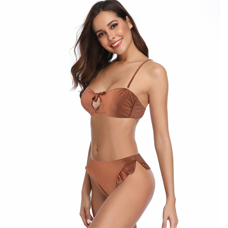 AliExpress Bikini Nylon Fabric Camisole Dew Chest Line-Two-piece Swimsuits With Chest Pad Wireless Cup