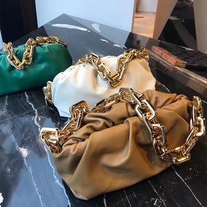 Fashion Women Handbag Thick Chain Crossbody Bag Fold Cowhide Clip Bag Shoulder Bag Luxury Handbags Women Bags Designer Chanel