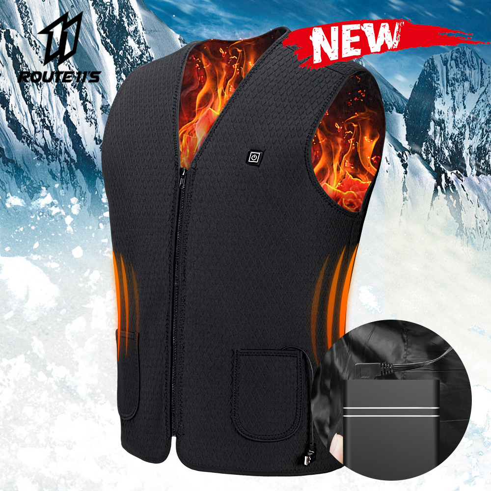 2019 New Motorcycle Jacket Men USB Infrared Electric Heating Vest Waistcoat Thermal Clothing Winter Riding Jacket Chaqueta Moto