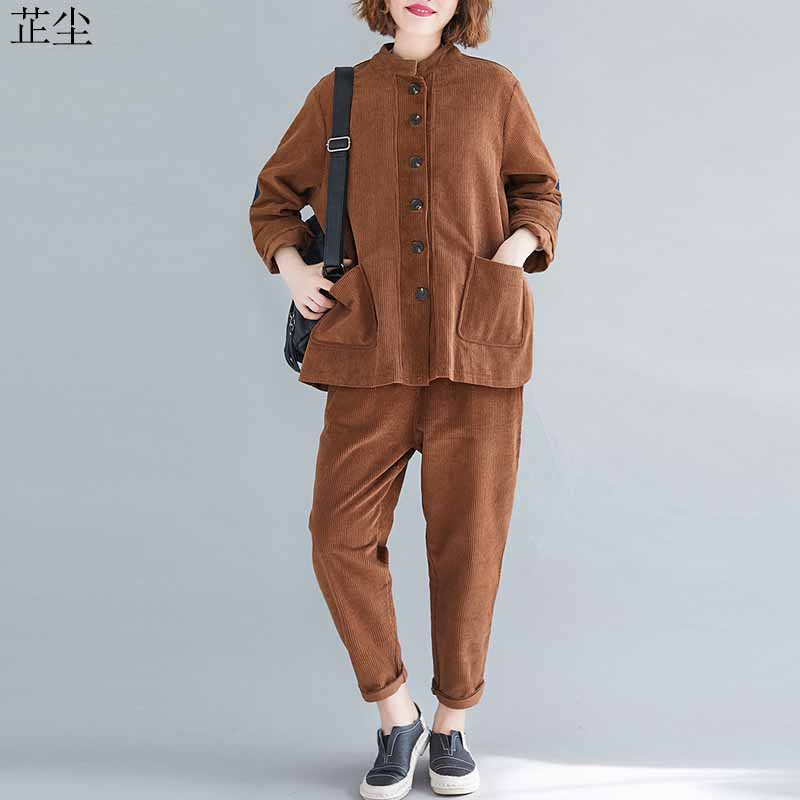 Vintage 2 Piece Set Plus Size Corduroy Jackets Women 2019 Autumn Long Sleeve Cardigan Coats Outerwear And Long Corduroy Pants