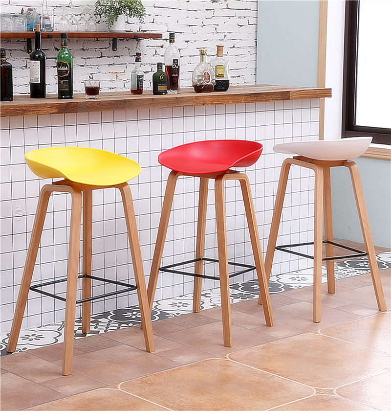 Nordic Bar Chair Solid Wood Modern Minimalist Bar Chair High Stool Home Light Luxury Shop Front Desk Chair
