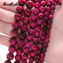 Grânulos de pedra natural espaçador redondo rosa tigre vermelho solta contas para jóias diy fazer pulseira acessórios 15