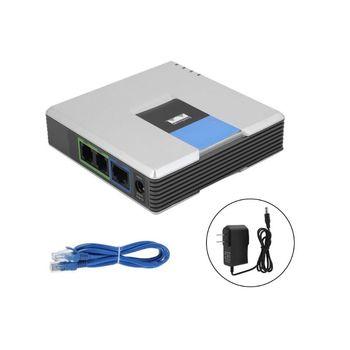 1 zestaw bramka VOIP 2 porty protokół SIP V2 telefon internetowy Adapter głosu z kablem sieciowym do wtyczki Linksys PAP2T AU EU US UK tanie i dobre opinie Deek-Robot CN (pochodzenie)