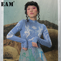 [EAM] mujer estampado Slim Fit Causal Hit Color camiseta nuevo cuello alto manga larga moda marea todo-fósforo primavera otoño 2019 1B740
