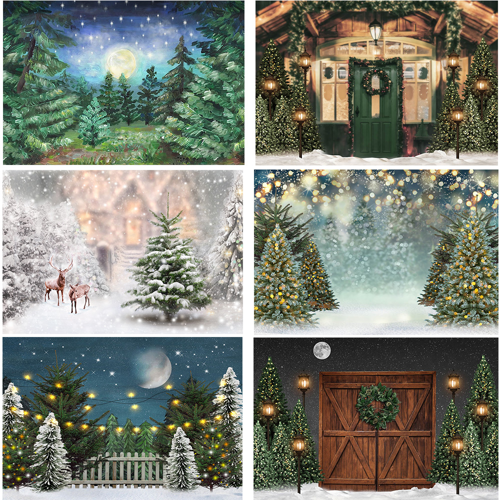 Photography Background Christmas Snow Christmas Trees Snowfield Backdrop Winter Forest Birthday Artistic Portrait Photo Shoot