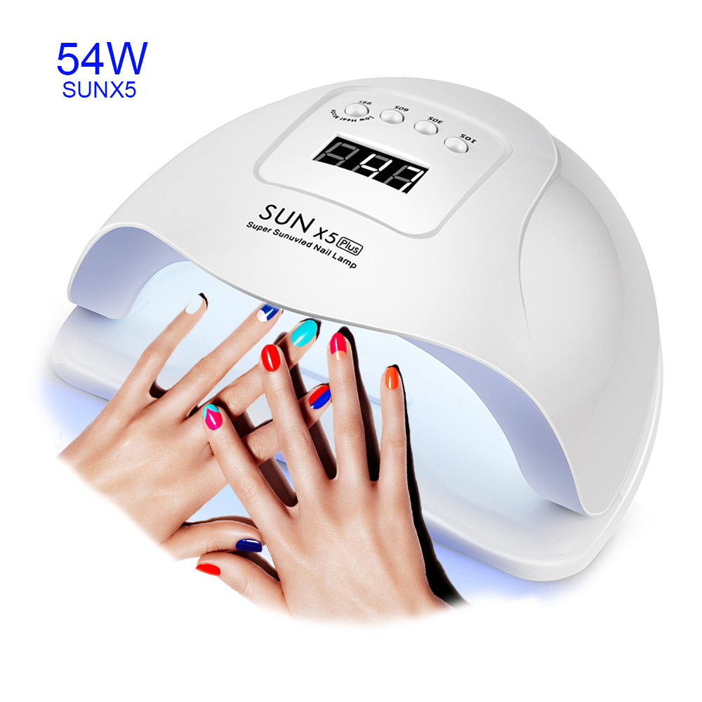54/36/6W SUN X5 Plus Nail Dryer LCD Display 36 LEDs Nail Lamp UV LED Lamp For Curing Gel Polish Auto Sensing No Bottom