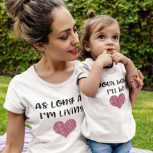 CYSINCOS Family Look Matching Clothes Mommy And Me Tshirt Mother Daughter Outfits Women Mom T-shirt Baby Girl Boys T Shirt(China)