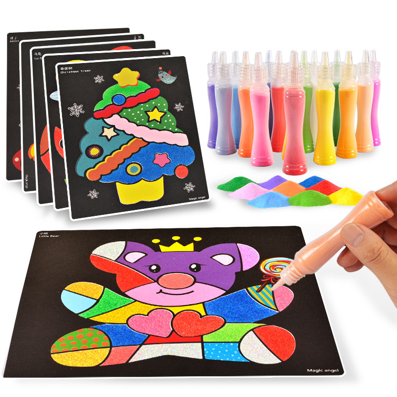 24pcs Sand Art Paper With 12 Colors Bottle Sand For Children Drawing Toys/ Kids Cartoon Sand Painting For Kindergarten Art Craft