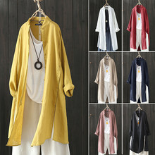 2019 Plus Size ZANZEA Spring Autumn Women Casual Lapel Long Sleeve Vintage Cotton Linen Loose Work OL Long Shirt Cardigan Blouse(China)