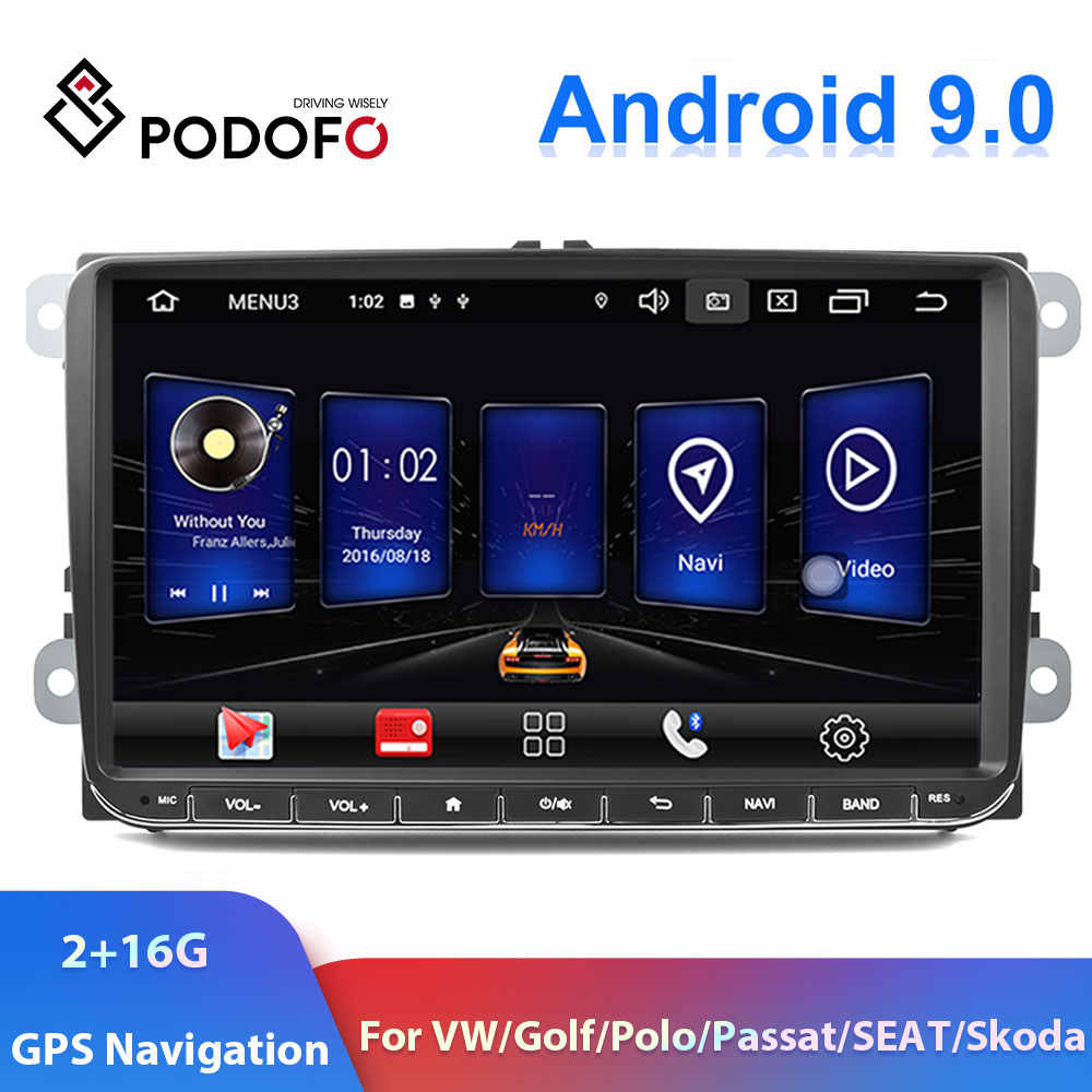 "Podofo 9"" 2din Car Radio Android 9.0 GPS Navi Car Multimedia Player For VW Volkswagen Golf Polo passat b6 B7 Touran Car Stereo"