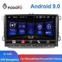 "Podofo 9 ""2din רכב רדיו אנדרואיד 9.0 GPS Navi נגן מולטימדיה לרכב עבור פולקסווגן פולקסווגן גולף פולו פאסאט b6 b7 טוראן רכב סטריאו"