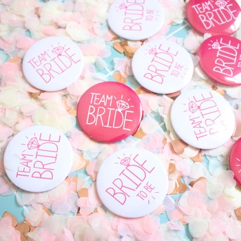6/3/2pcs Bride To Be Badge Hen Party Bridesmaid Decoration Bachelor Party Team Bride Badge Bridal Shower Wedding Party Supplies image