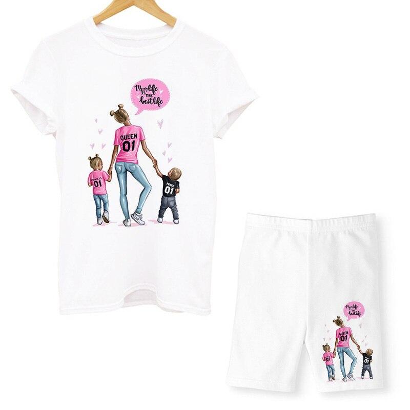 Комплект из двух предметов супер обувь для мам; Футболки для мальчиков и девочек, комплект с шортами, летняя футболка с короткими рукавами и ...
