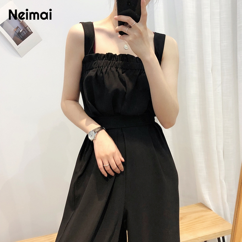 Neimai noir Satin jambe large Combinaison Enterizos Para Mujer Largos Elegantes mode Nova Femme salopette Combinaison Femme été