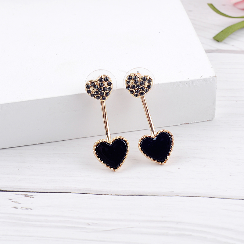 Exquisite Red Black Enamel Little Heart Crystal Gold Color Stud Earrings For Women Gifts Fashion Jewelry Wholesale