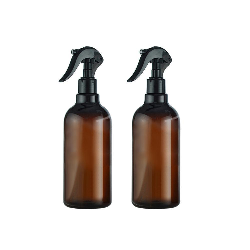 500ML Brown Portable Plastic Spray Bottle Sprayer Essential Oil Perfume Container Refillable Bottles Salon Barber Hair Tools